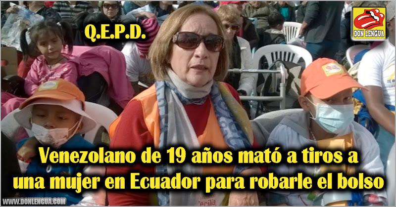 Venezolano de 19 años mató a tiros a una mujer para robarle el bolso en Ecuador
