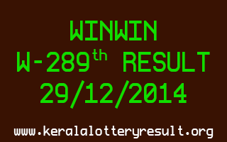 Win-Win Lottery W-289 Result 29-12-2014
