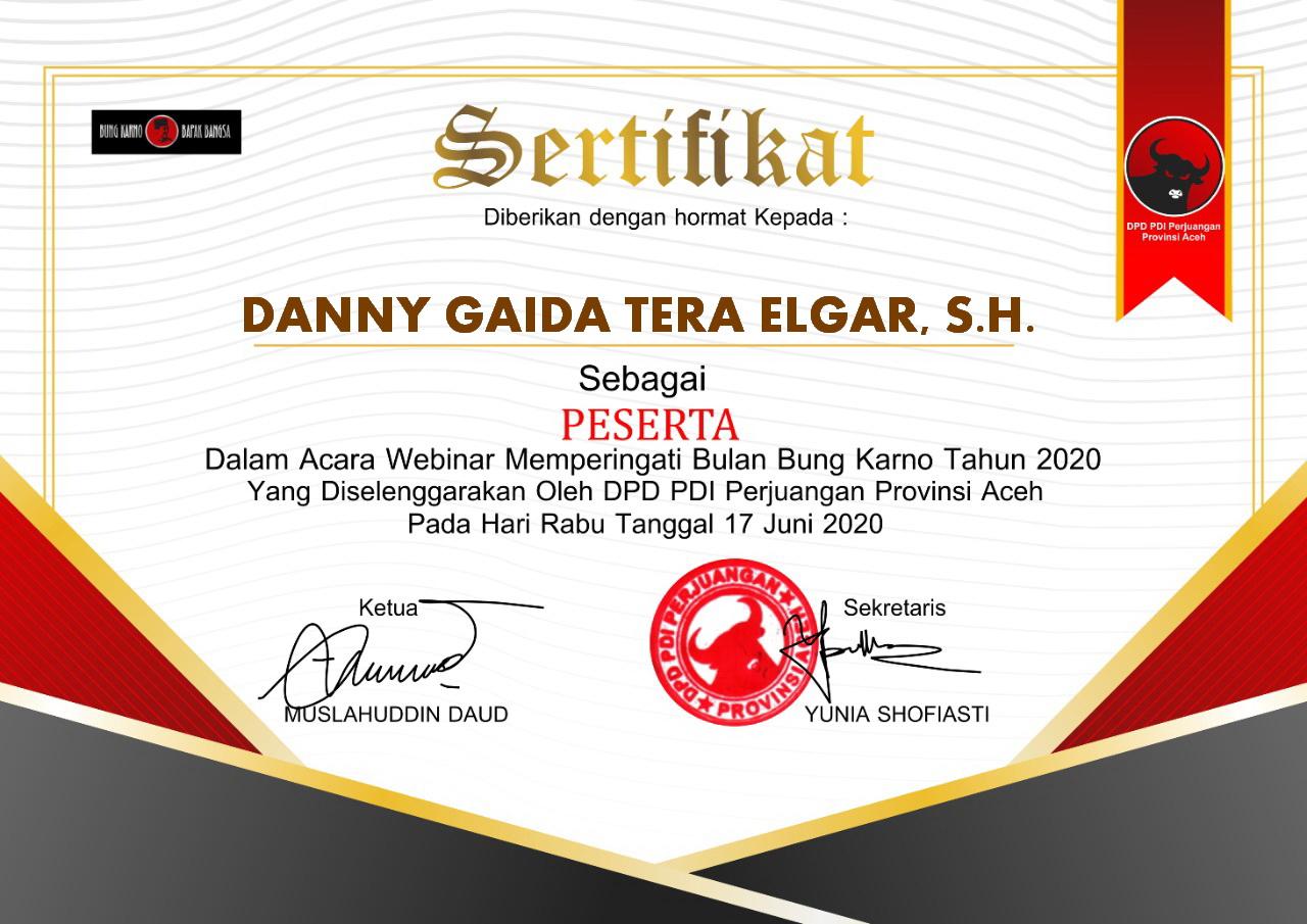 Sertifikat Dewan Pimpinan Daerah (DPD) Partai Demokrasi Indonesia Perjuangan (PDIP) Provinsi Aceh | BULAN BUNG KARNO TAHUN 2020