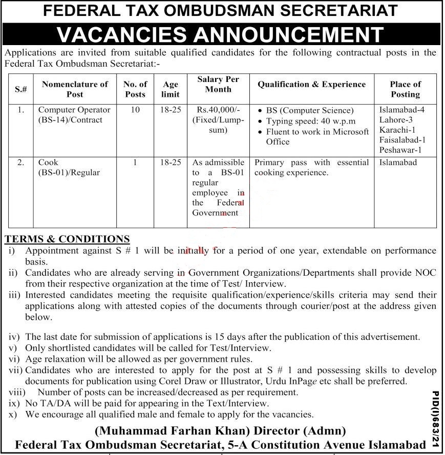 Federal Tax Ombudsman Secretariat Islamabad, Government of Pakistan Jobs 2021