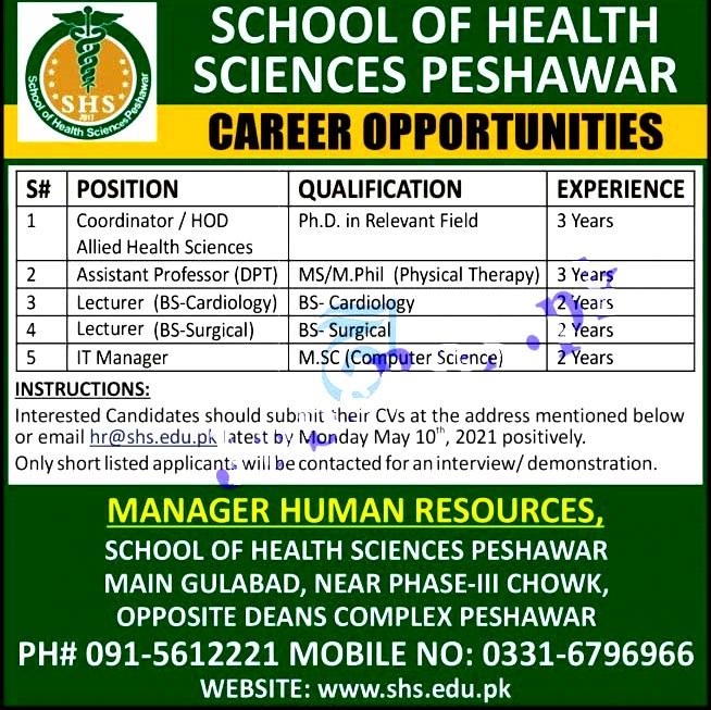 New Jobs in School Of Health Sciences Peshawar SHSP 2021