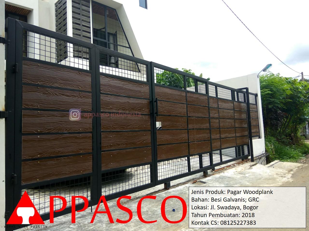 Pagar Woodplank Minimalis Besi Galvanis GRC di Swadaya Bogor