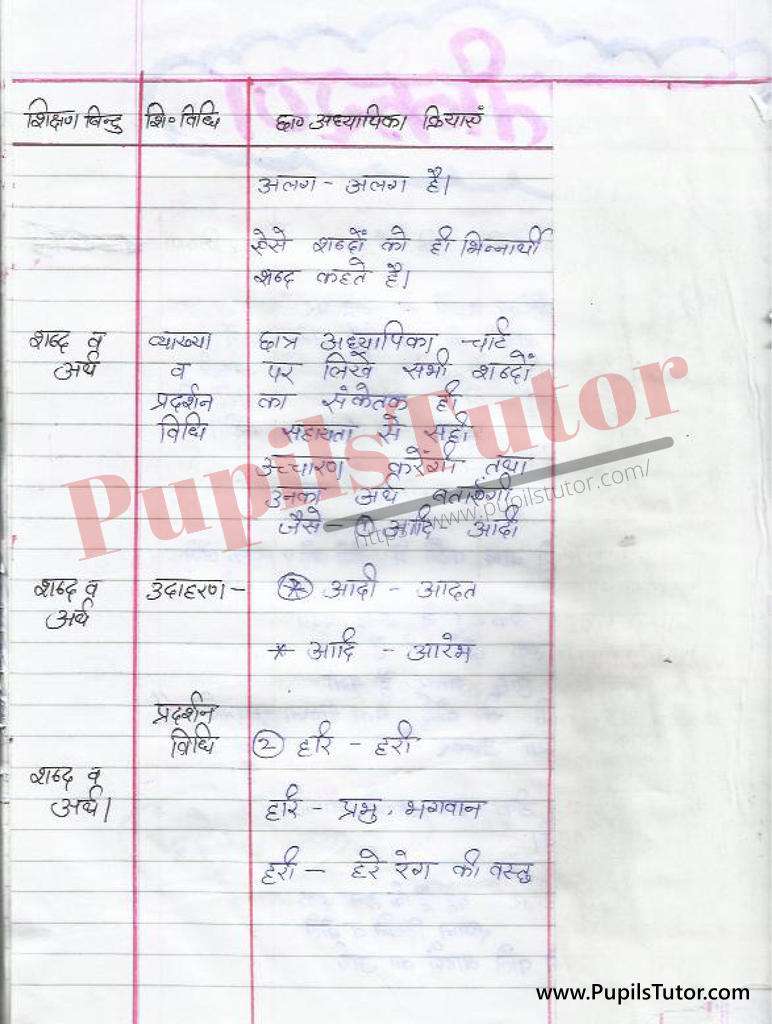 Bhinnarthak Shabd par Lesson Plan in Hindi for BEd and DELED