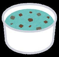カップのアイスクリームのイラスト(チョコミント)
