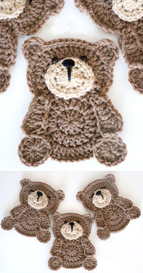Crochet Teddy Bear Applique - Free Pattern & Tutorial