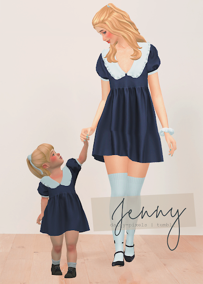 - ̗̀ Jenny Dress + Tot Version ̖́- (TS4)