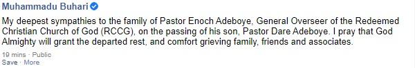 President Buhari Condoles With Adeboye, RCCG Family Over Demise Of Pastor Dare