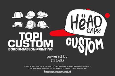 Bikin Custom Topi Bordir Sablon Printing, Snapback, Trucker Cap, Bucket Hat, Baseball Hat, Etc