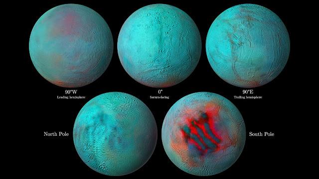 Infrared eyes on Enceladus: Hints of fresh ice in northern hemisphere