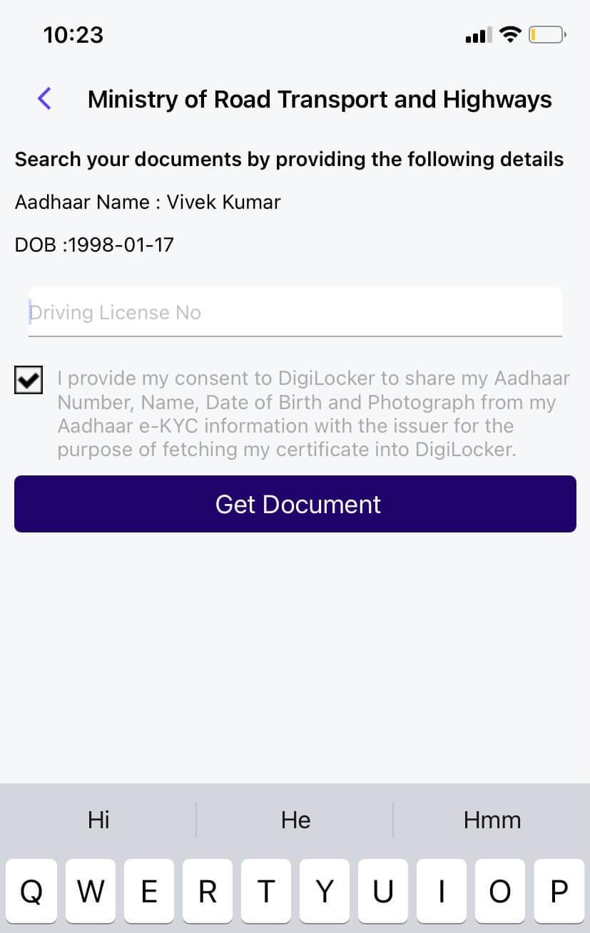 Enter your driving license number