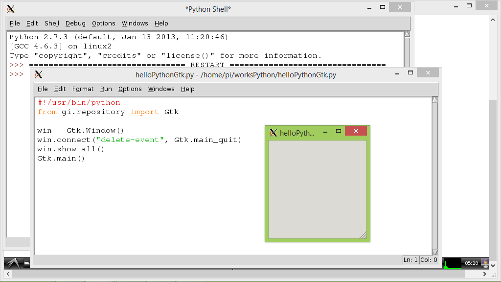 """Hello World"" of Python 2.7.3 with GTK+ 3"