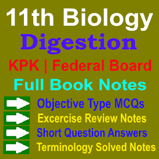 1st Year Biology KPK Federal Board Notes Chapter 11 Digestion Notes