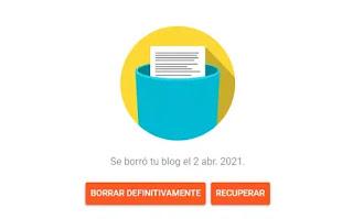 Eliminar blog de blogger o recuperar