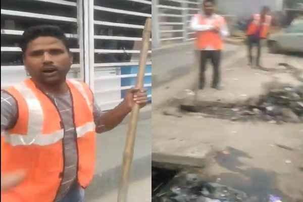 faridabad-nagar-nigam-sfaai-karmchari-gundagardi-video-viral-twitter