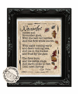 Welcome November.........Free Printable........