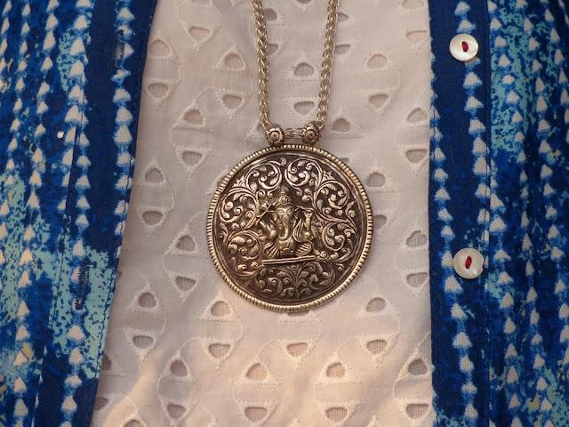 Ethnic style silver Ganesha pendant