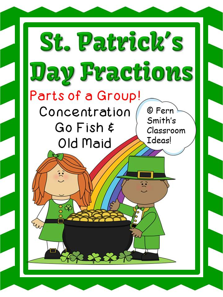 Fern Smith's Center Games Fractions - Parts of a Group Center Games for St. Patrick's Day at my TeachersPayTeachers store.