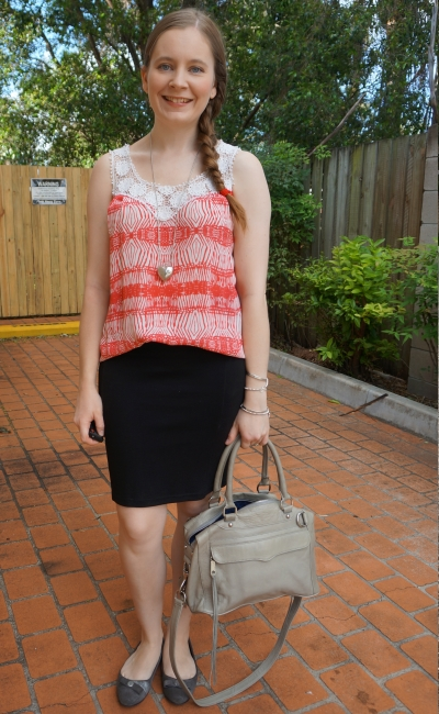 red printed crochet tank in office summer workwear pencil skirt grey MAM bag | away from blue