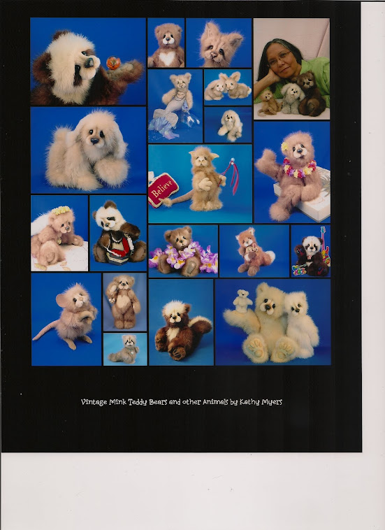 Vintage Mink Teddy Bears and other animals by Kathy Myers