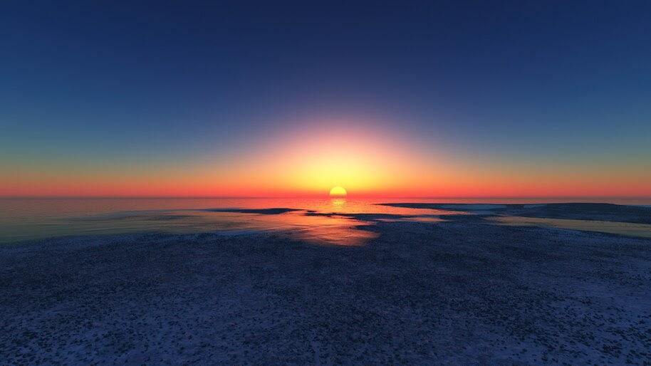 Sunset, Sea, Ocean, Scenery, 4K, #6.939