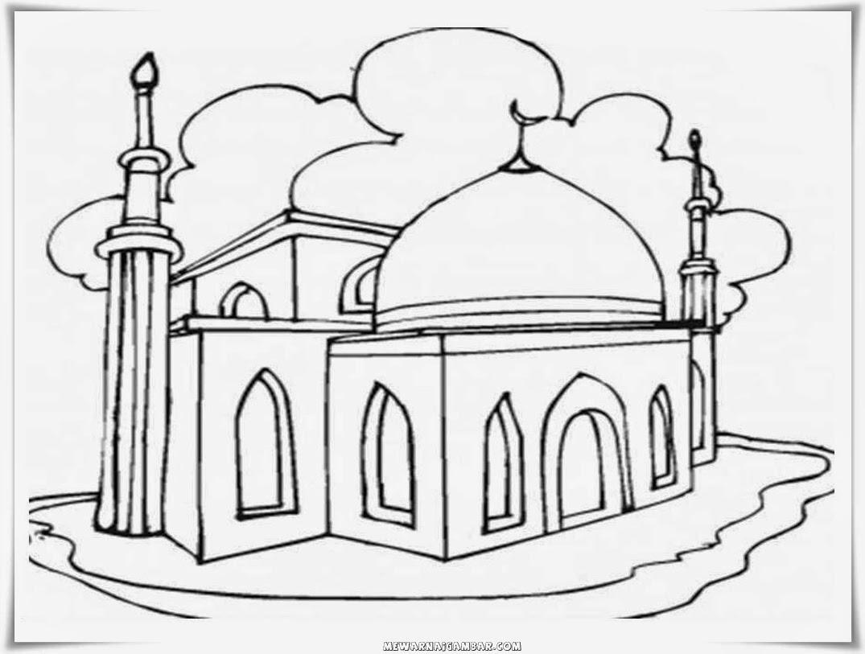 Sketsa Gambar Mewarnai Islami