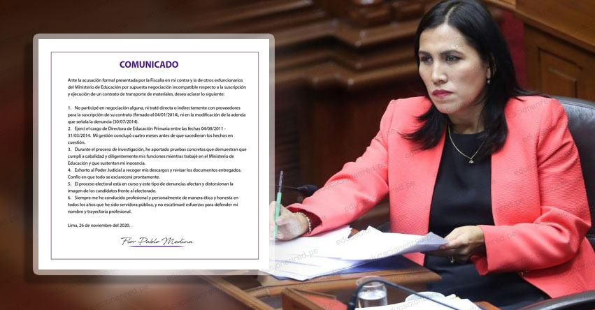 FLOR PABLO MEDINA: Exministra de Educación rechaza acusación penal por supuesta negociación incompatible, según comunicado