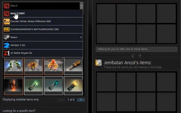 Cara Trade Offer Dota 2 Item via Steam Mobile