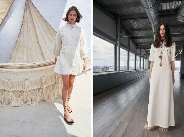 Платья в утилитарном стиле белого цвета