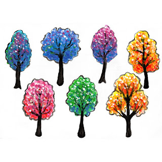Colorful trees poster paint painting