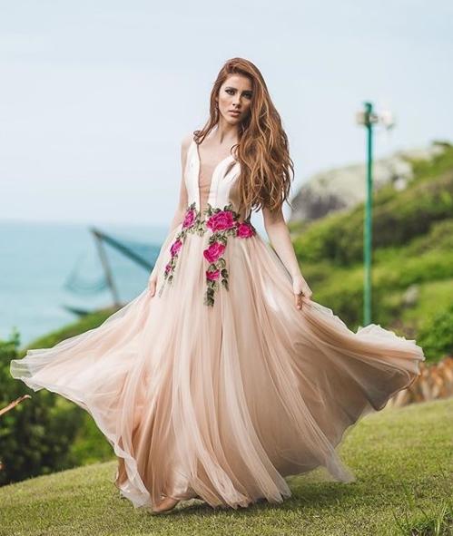 vestido longo rose nude