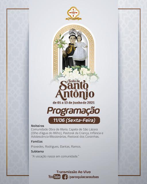 Confira a programação da festa do padroeiro do Bairro Leandro Bezerra em Caraúbas neste sexta-feira (11)