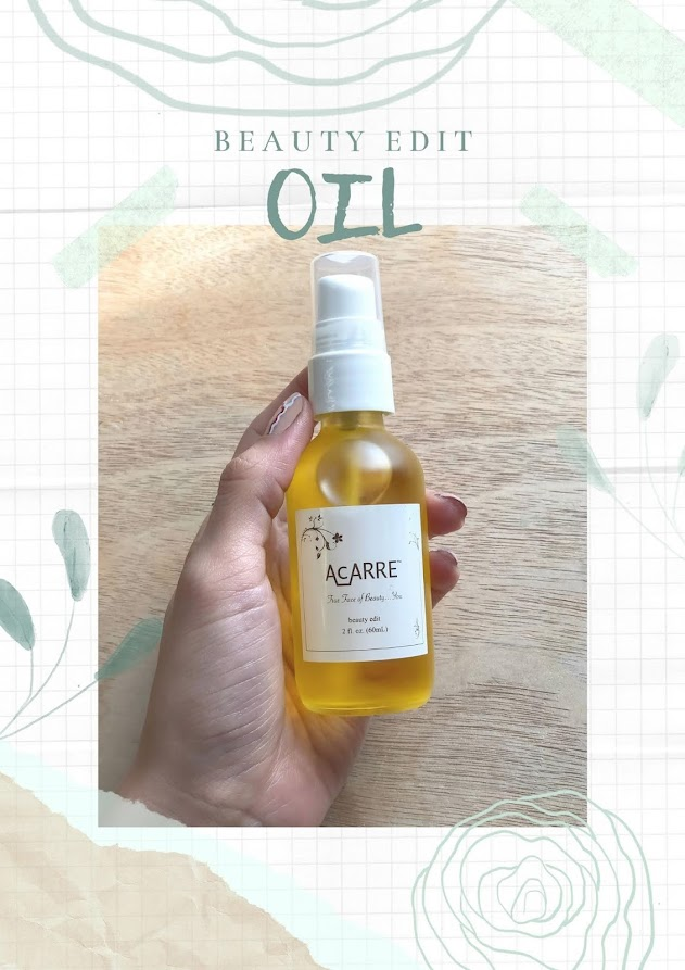 Hand holding dry oil for skin , face care, skincare product by clean brand Acarre, The face of beauty by Acarre, Promo cruelty-free skincare, dry oil for face, minimal skincare routine,