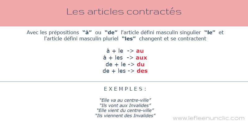FLE grammaire, les articles contractés en français