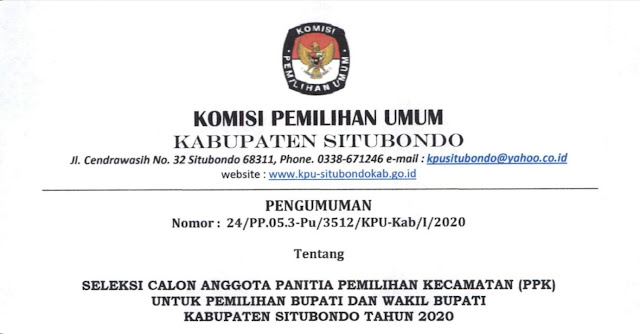Seleksi Calon Anggota PPK pemilihan Bupati dan Wakil Bupati Kabupaten Situbondo 2020