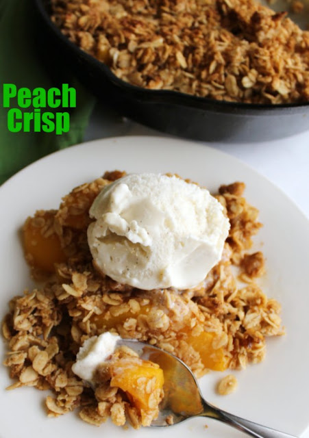 Sweet peaches kissed with maple syrup and topped in a crispy crumbly brown sugar oat topping. All you need is a scoop of vanilla ice cream and your taste buds will be in heaven.