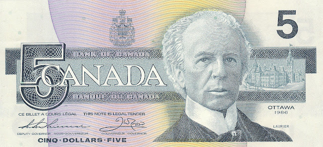 Canadian Banknotes 5 Dollars banknote 1986 Wilfrid Laurier, Prime Minister of Canada