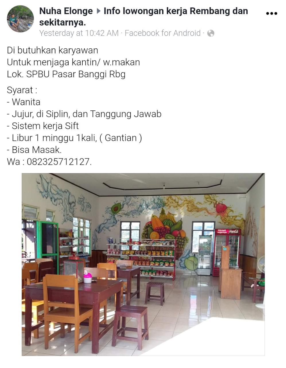 Lowongan Karyawati Kantin SPBU Pasar Banggi Rembang