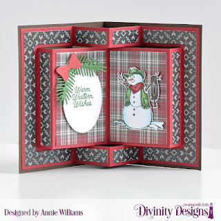 Stamp/Die Duos: Country Christmas, Loads of Love, Custom Dies: Book Fold Card with Layers, Pickup Truck, Pierced Ovals, Pierced Circles, Pine Branches, Peaceful Poinsettia, Paper Collection: Rustic Christmas