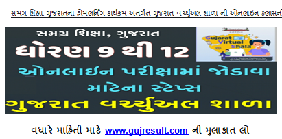 Gujarat Virtual Shala online Exam for std 9 TO 12 Students see the steps on how to take the exam & EXAM LINK.