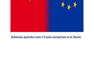 Relations agricoles entre l'Union européenne et le Maroc PDF
