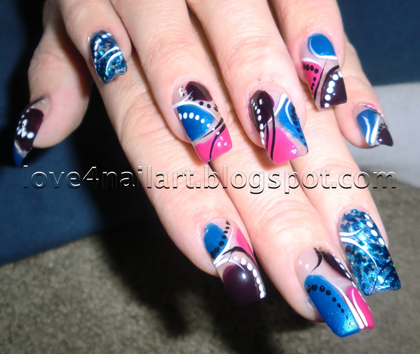 Love4NailArt: Tri-Color Abstract Nail Art