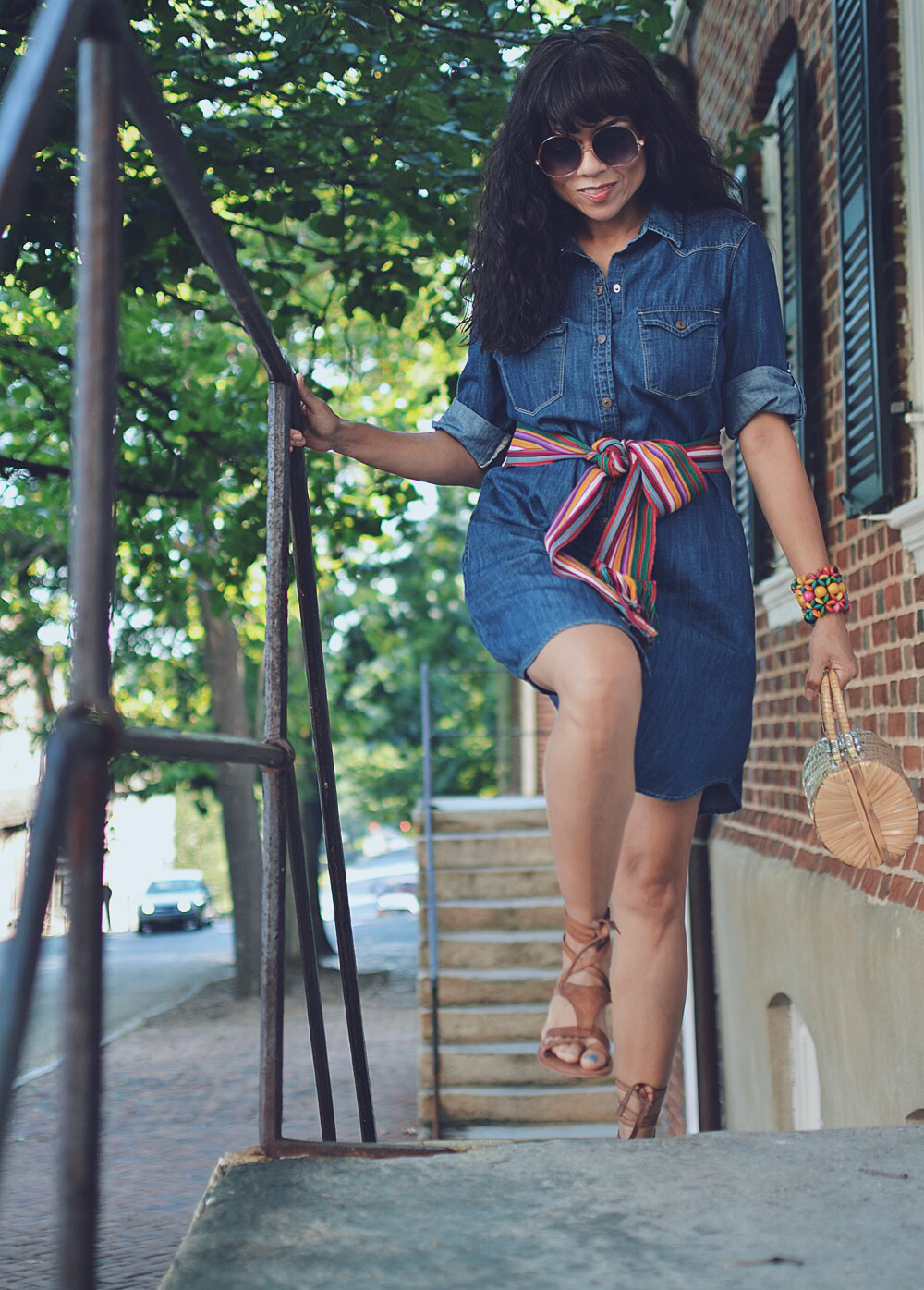 Outfit with denim dress
