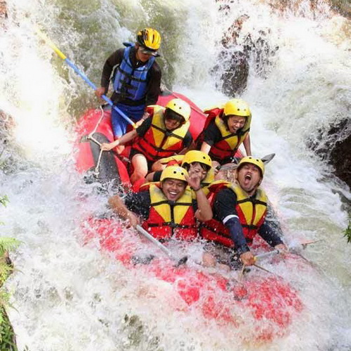 Tinuku Elo river rafting down river class 2 to 3 around Borobudur temple and if lucky watch monitor lizard on rocks