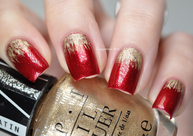 red & gold christmas nails - lacquered