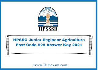 HPSSC Junior Engineer Agriculture Post Code 828 Answer Key 2021