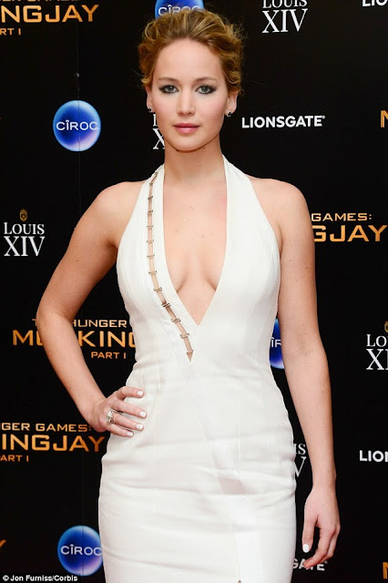 Jennifer Lawrence in plunging dress at Hunger Games afterparty 1