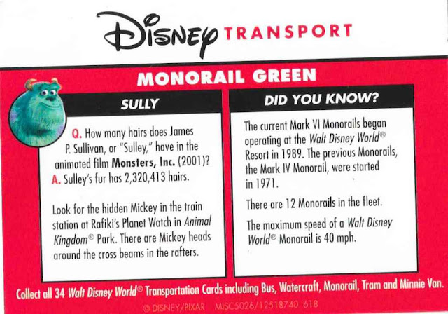 Monorail Green Disney Transportation Card Backside Sully 17 of 34