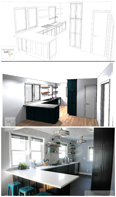 From sketch design to true-to-life - modern kitchen makeover with black Diamond cabinets :: OrganizingMadeFun.com