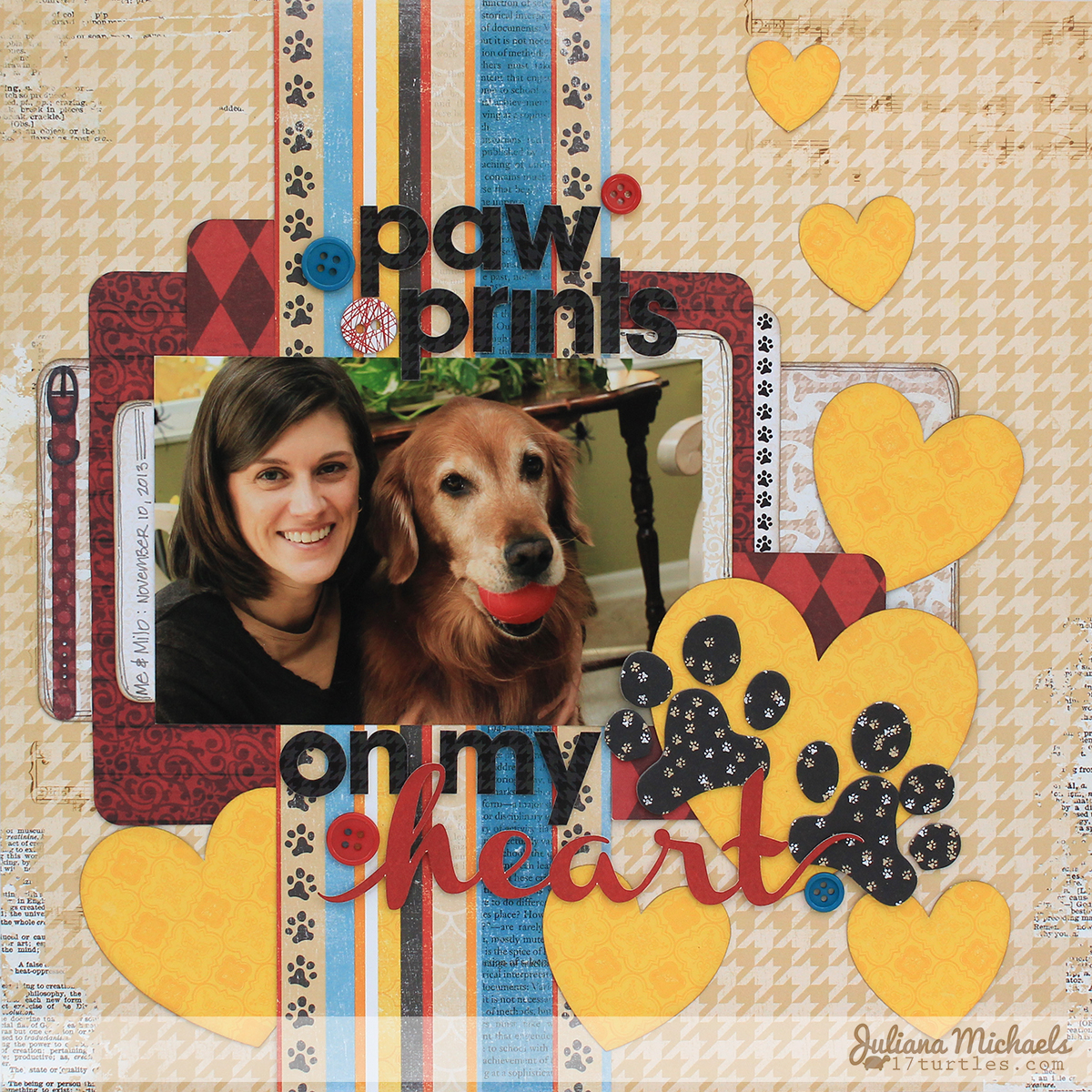 Dog Scrapbook Page by Juliana Michaels featuring BoBunny