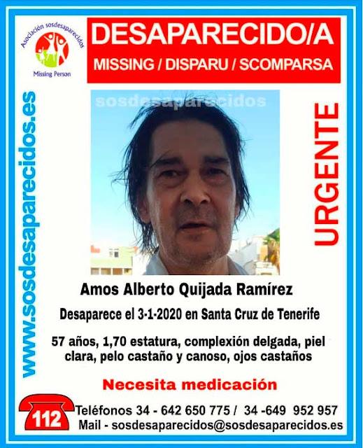 Se busca a Amos Alberto Quijada Ramírez, hombre desaparecido en Santa Cruz de Tenerife y que necesita medicación